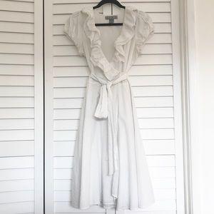 EUC Double Zero White Swiss Dot Wrap Dress, M